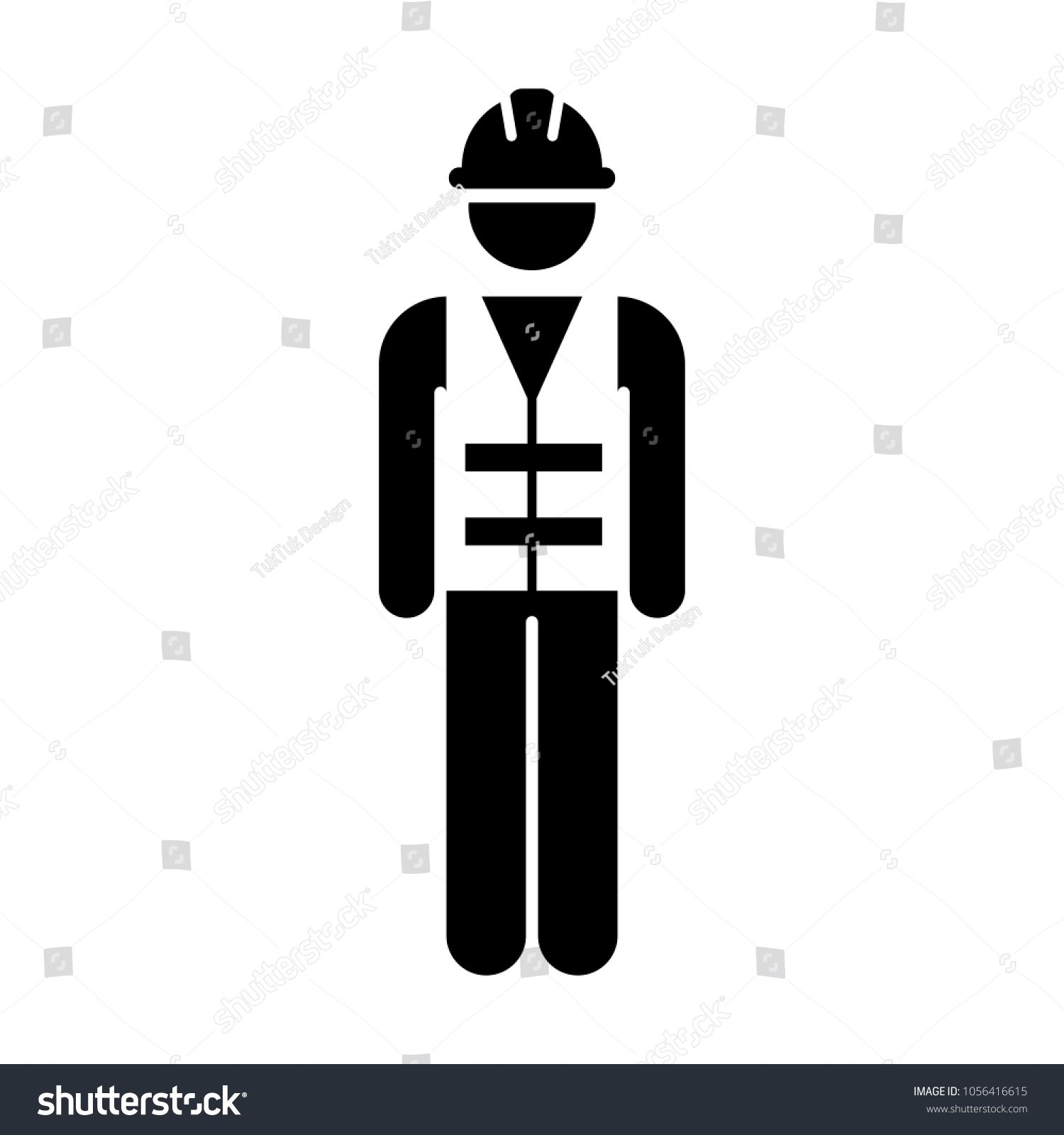 Worker Icon Vector Male Service Person Of Building Construction Workman With Hardhat Helmet And Jacket In Glyph Pictogram Symbol Illustra Pictogram Icon Vector