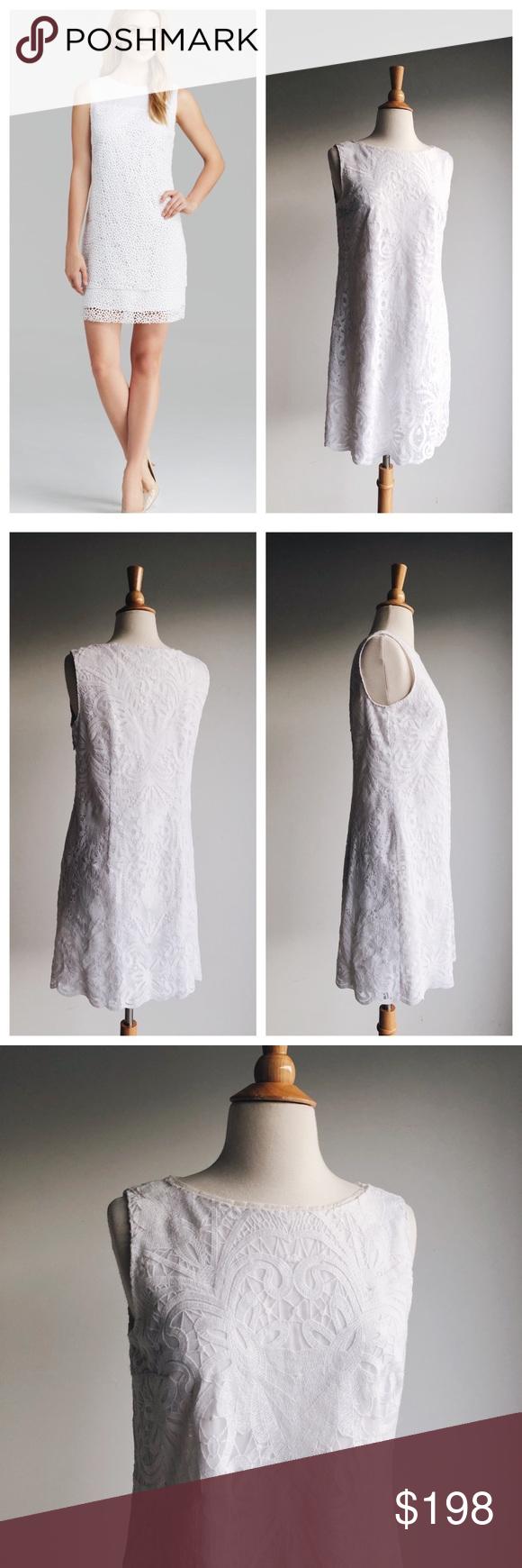 Elie Tahari White Lace Sheath Dress 6 Stunning White Lace Dress From Elie Tahari Same Fit As The Lillian F Lace Sheath Dress Lace White Dress Elie Tahari [ 1740 x 580 Pixel ]