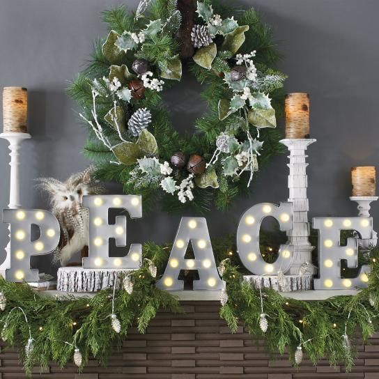 Peace Marquee Letters Grandin Road In 2020 Christmas Decorations Christmas Garland Winter Wreath