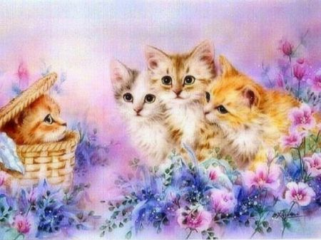 New Kid In The Box Flowers Love Four Seasons Spring Animals Dogs And Cats Basket Adorable Pretty Weird Thin Cat Painting Animal Wallpaper Animals