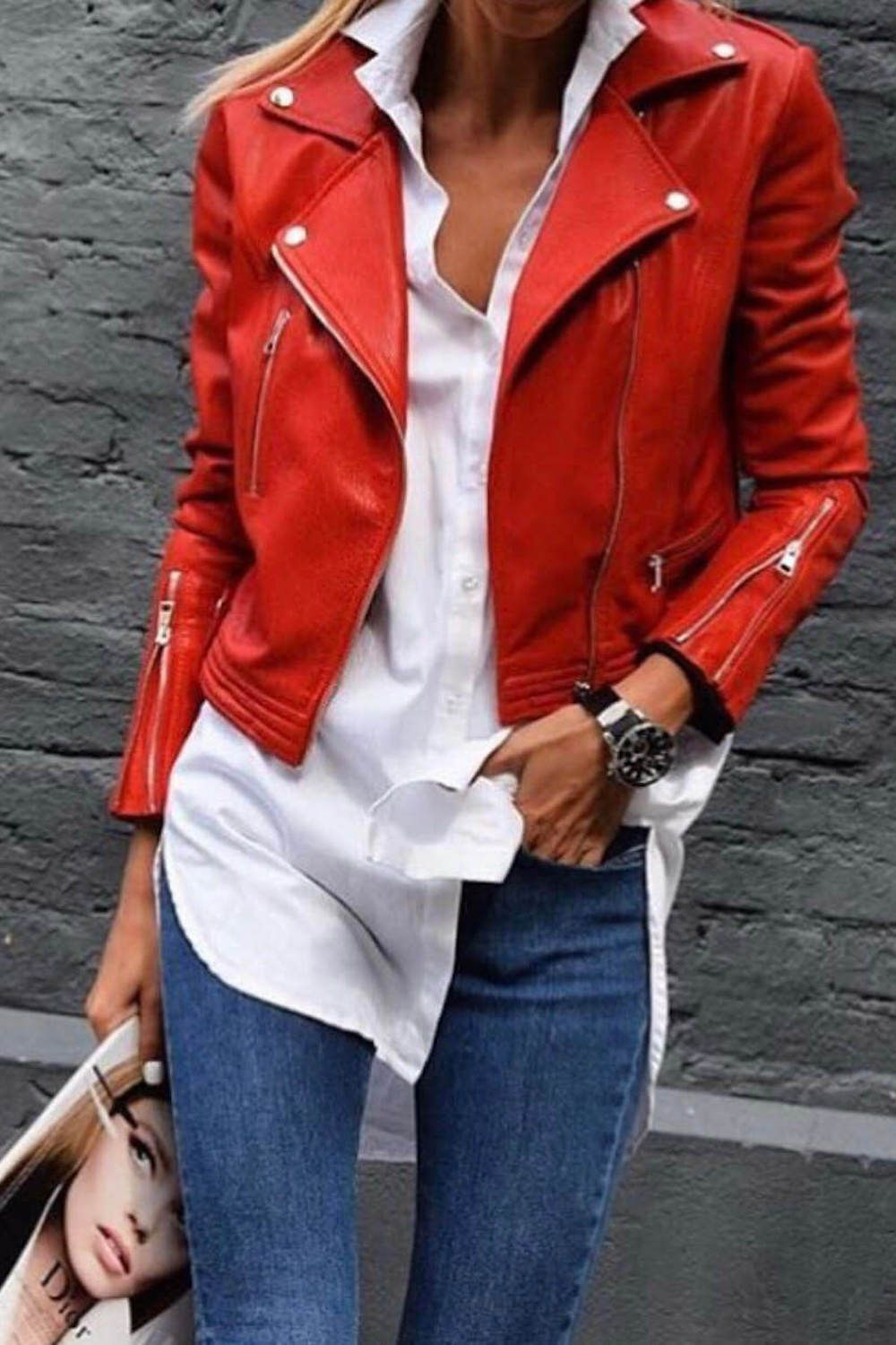 It S Time To Choose A Leather Jacket In 2021 Red Jacket Outfit Red Leather Jacket Outfit Jacket Outfits [ 1500 x 1000 Pixel ]