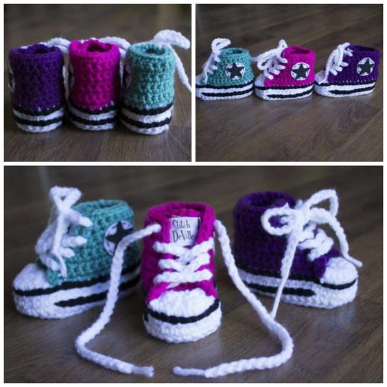 Crochet Converse Baby Booties Pattern Free | Bebe
