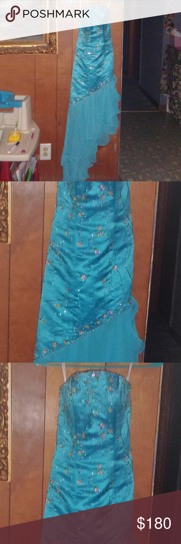 Pageant prom dress size bling aqua strapless my posh picks
