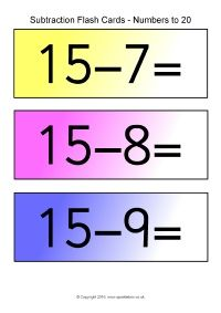 Subtraction Number Sentence Flash Cards (SB11564) - SparkleBox ...