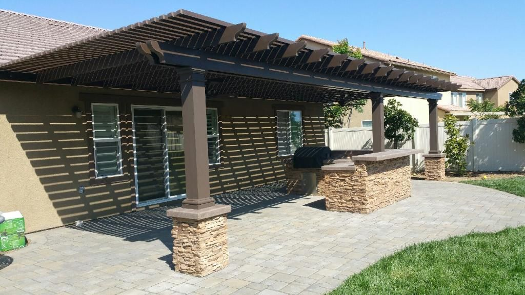 Alumawood Lattice Patio Cover In Spanish Brown Lattice Patio