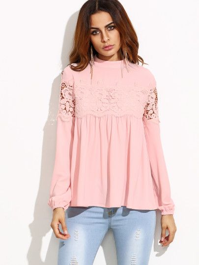 Pink Mock Neck Lace Applique Babydoll Top -SheIn(Sheinside) Mobile Site