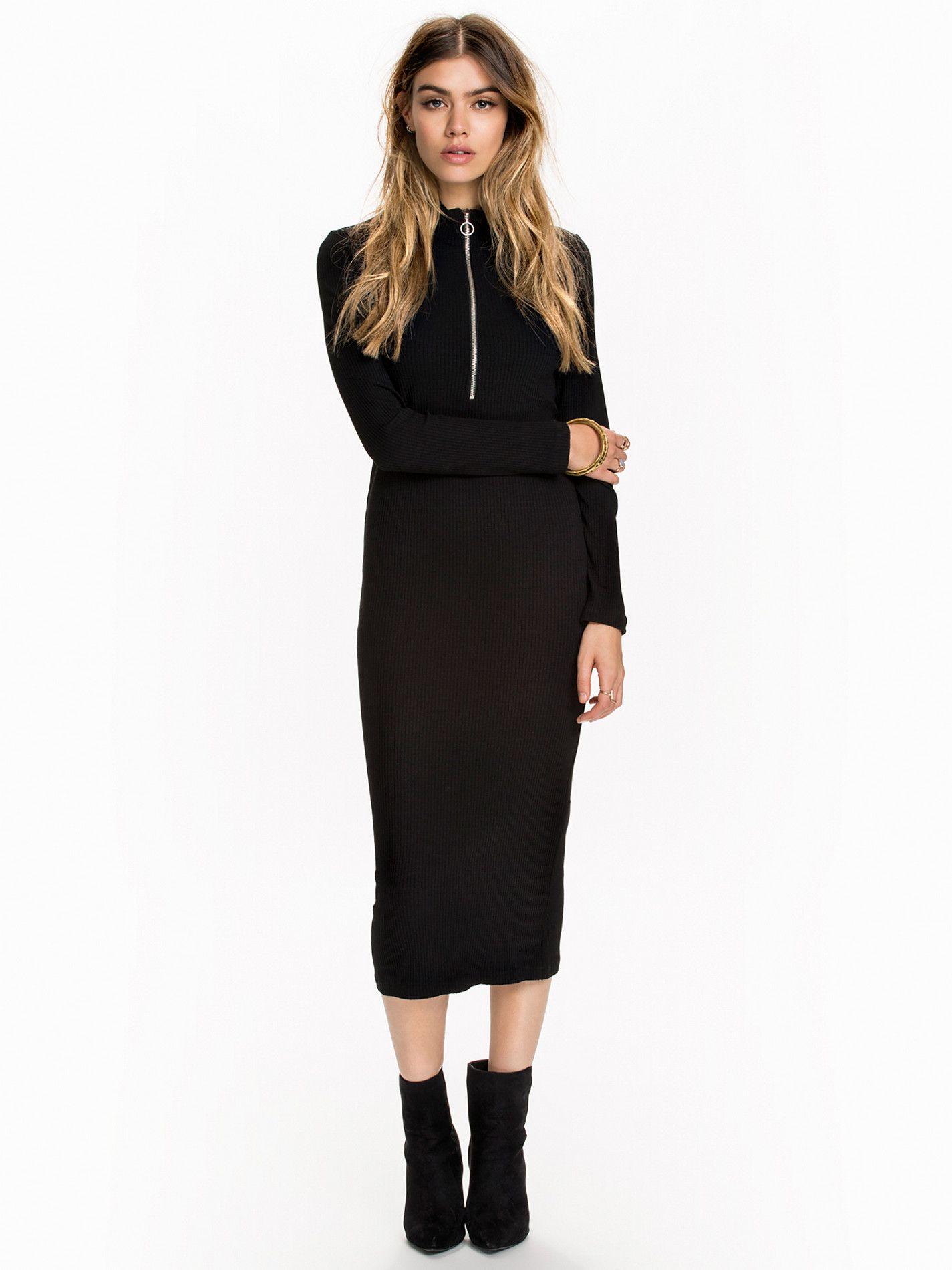 d4c9a2a1 Turtleneck Zip Dress - Nly Design - Svart - Festkjoler - Klær - Kvinne -  Nelly