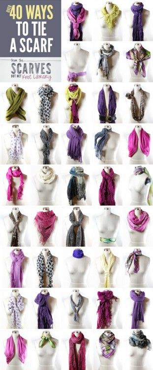 Fifty Ways to Tie a Scarf from Scarves Dot Net here.It says forty but they are adding new ways to tie scarves every day and if you click on a scarf there are detailed instructions and sometimes even a video to show you how to tie it. This site also has fabric care for scarves, and how to tie the following scarves and more (and numerous sub categories):  bandanas  circle scarves  head scarves  rectangle long scarves  skinny scarves  square scarves  wrap scarves and tons more