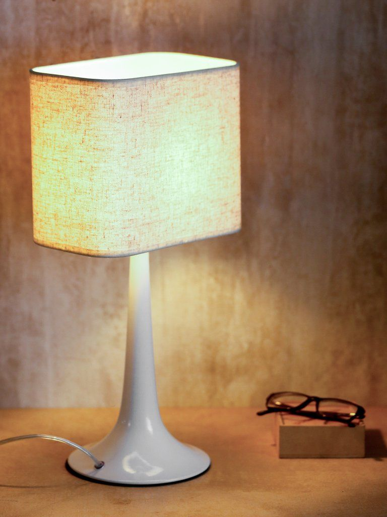 Monero White   Perfect For A Side Table Or End Table, This Monero Table Lamp  Features A Slim White Profile Which Sits On A Round Base With A White Linen  ...