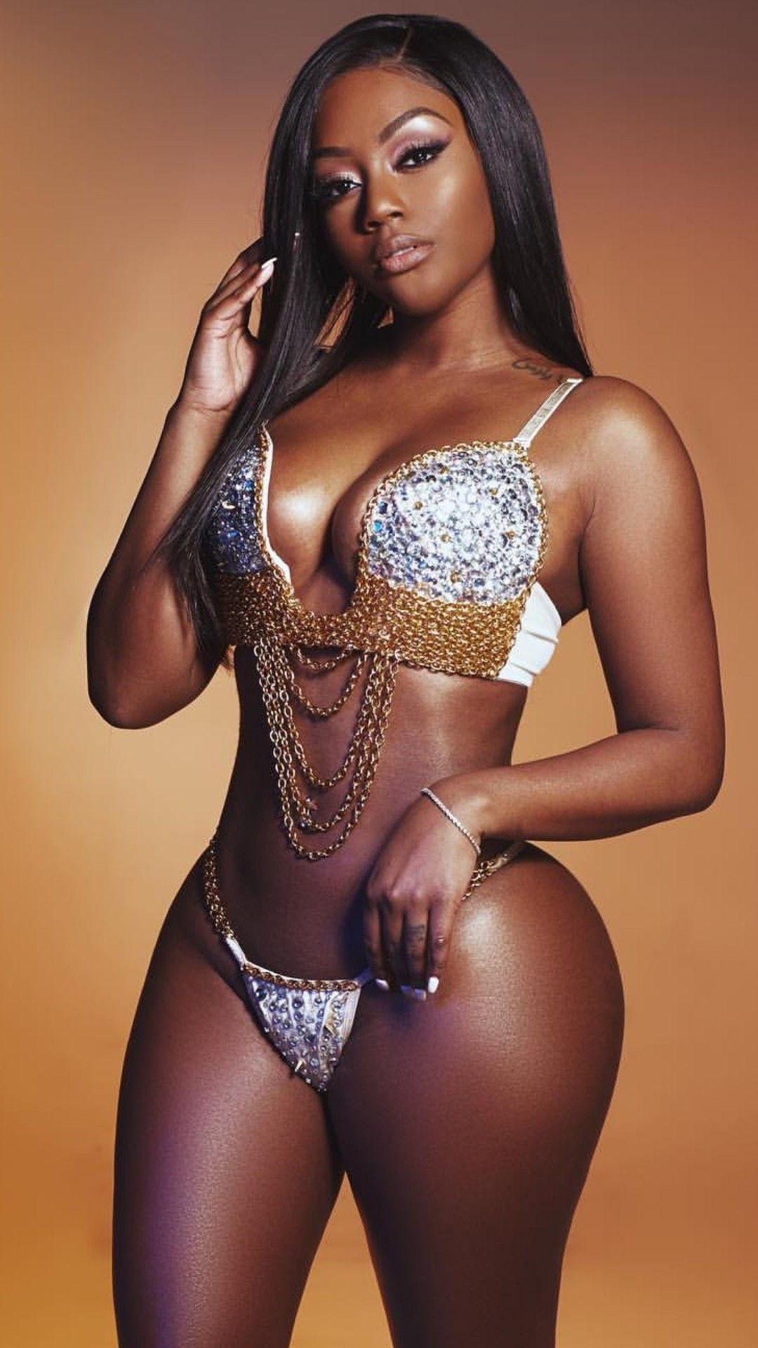Sexy Black Girl Wearing Lingerie Stock Photo