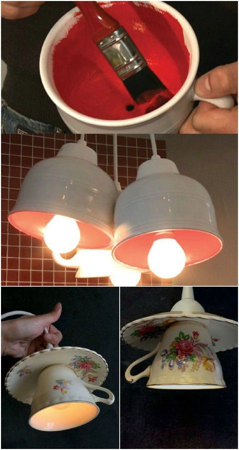 Pendant Light - From Tea to Décor: 25 Gorgeous Projects to Upcycle Old Teacups #diy #upcycle #reuse