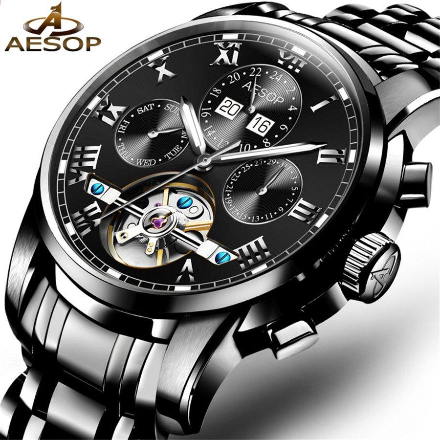 AESOP Valoiset Miehet Merkki Musta katsella Muoti Luxury rannekello  Vedenpitävä Automaattinen mekaaninen Watch Tourbillon Casual kellot c188ebe918