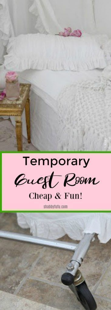 How to create a very private temporary guest room when you don't have a dedicated space to house guests. A fun space that can be duplicated for your kids playtime too!  #guestroom #guests #spareroom #bedroom #bedroomideas #creativedecorating #interiordesign #interiorstyling #shabbychic #kidsroom