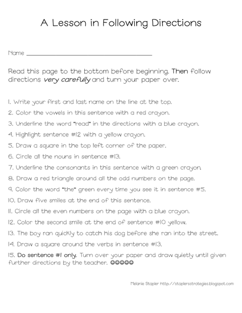 Following Directions Activities Part 2 | Free Language Stuff