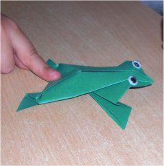 springender papierfrosch fr sche frog pinterest papier basteln und tiere falten. Black Bedroom Furniture Sets. Home Design Ideas