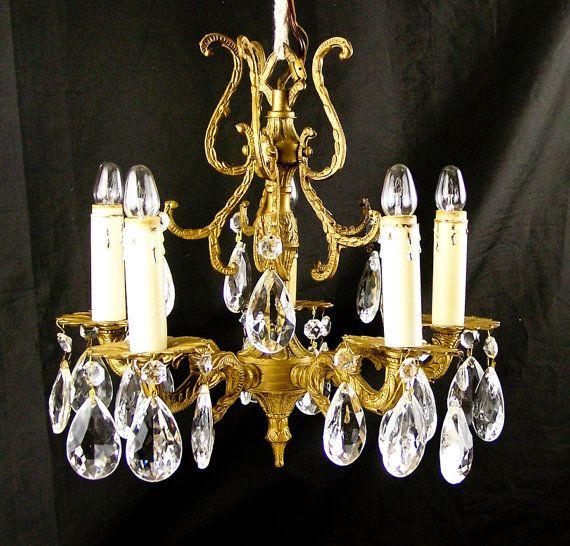 Vintage Crystal Chandelier Brass Hanging Chandelier Lighting Made In Spain  5 Candle Lights - Vintage Crystal Chandelier Brass Hanging Chandelier Lighting Made In