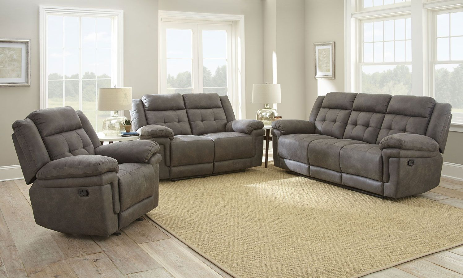 Anastasia Reclining Living Room Set Gray Living Room Recliner Living Room Sets Living Room Sets Furniture