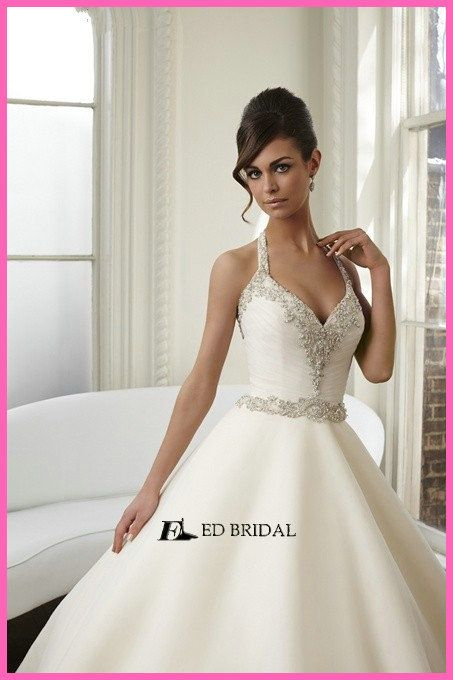 Unique Ball Gown Halter Beaded Neckline Ruched Court Train Open Back