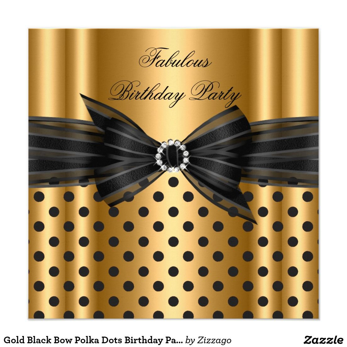 Gold Black Bow Polka Dots Birthday Party 5.25\