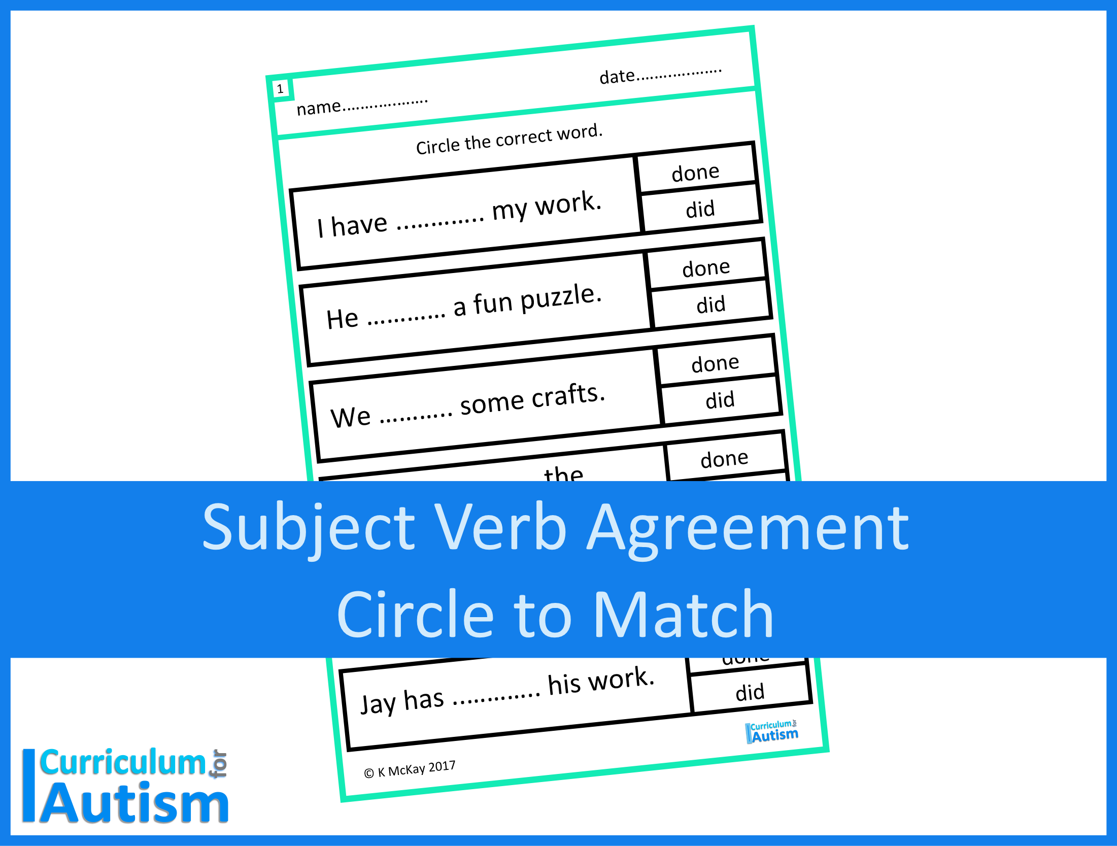 Subject Verb Agreement Grammar Worksheets Digital Download