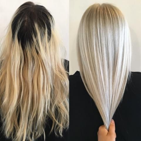 Makeover Grown Out And Faded To Ice Blonde Blonde Hair Color Hair Styles Ice Blonde