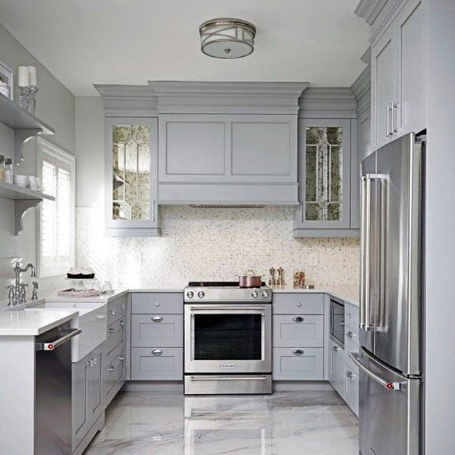 Light Grey Kitchen Cabinet Ideas With Epoxy Concrete Floors In 2020 Kitchen Cabinet Design Kitchen Cabinets Pictures Gray And White Kitchen
