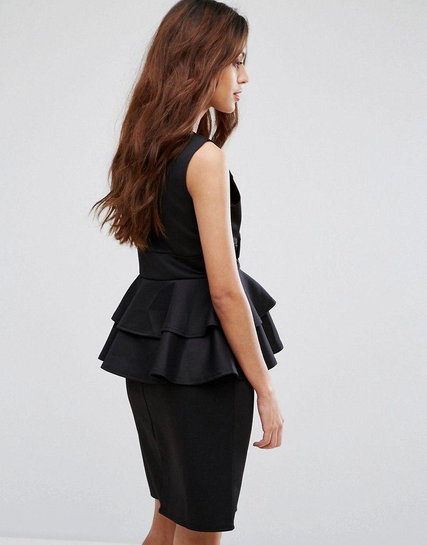 Be jealous midi dress with peplum detail black midi dresses and