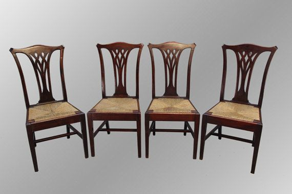 15975 Antique Set Of Four Mahogany Chippendale Dining Chairs Classy Chippendale Dining Room Set Inspiration Design