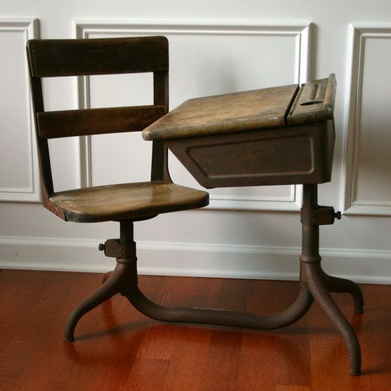 Vintage School Desk. Wooden. Antique. Childrens. 1930s. Primitive. Farmhouse. Rustic Home. Elementary. Summer School House. Homeschool.