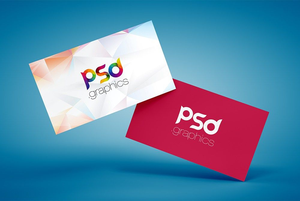 Floating business card mockup free psd carte de visite