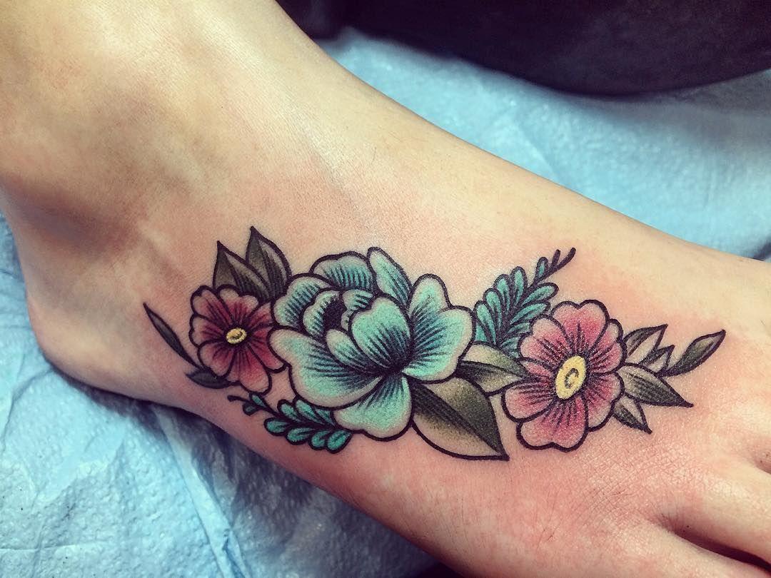 Floral Foot Tattoo Done By Jordan Busbea Propaganda Tattoo In