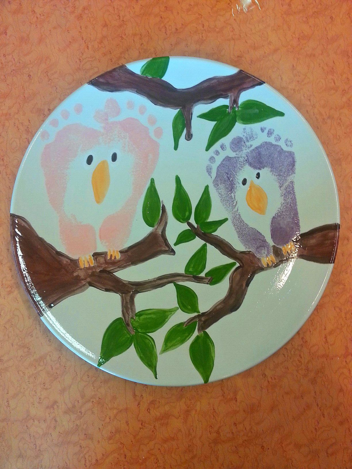 Owl Footprint Plate Painting With The Kiddos Handprint