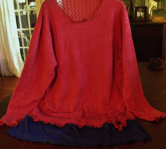 Plus Size Tunic Silk and Cashmere Sweater Navy Knit by SheerFab, $65.00