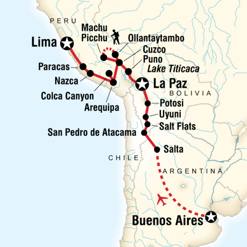 Peru Travel Tips Common Peruvian Phrases For Travel: Map Of The Route For Buenos Aires To Lima Adventure