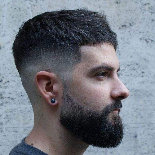 Mid Taper Fade Cropped Top Full Beard Mens Haircuts Short Short Hair With Beard Mens Hairstyles Short