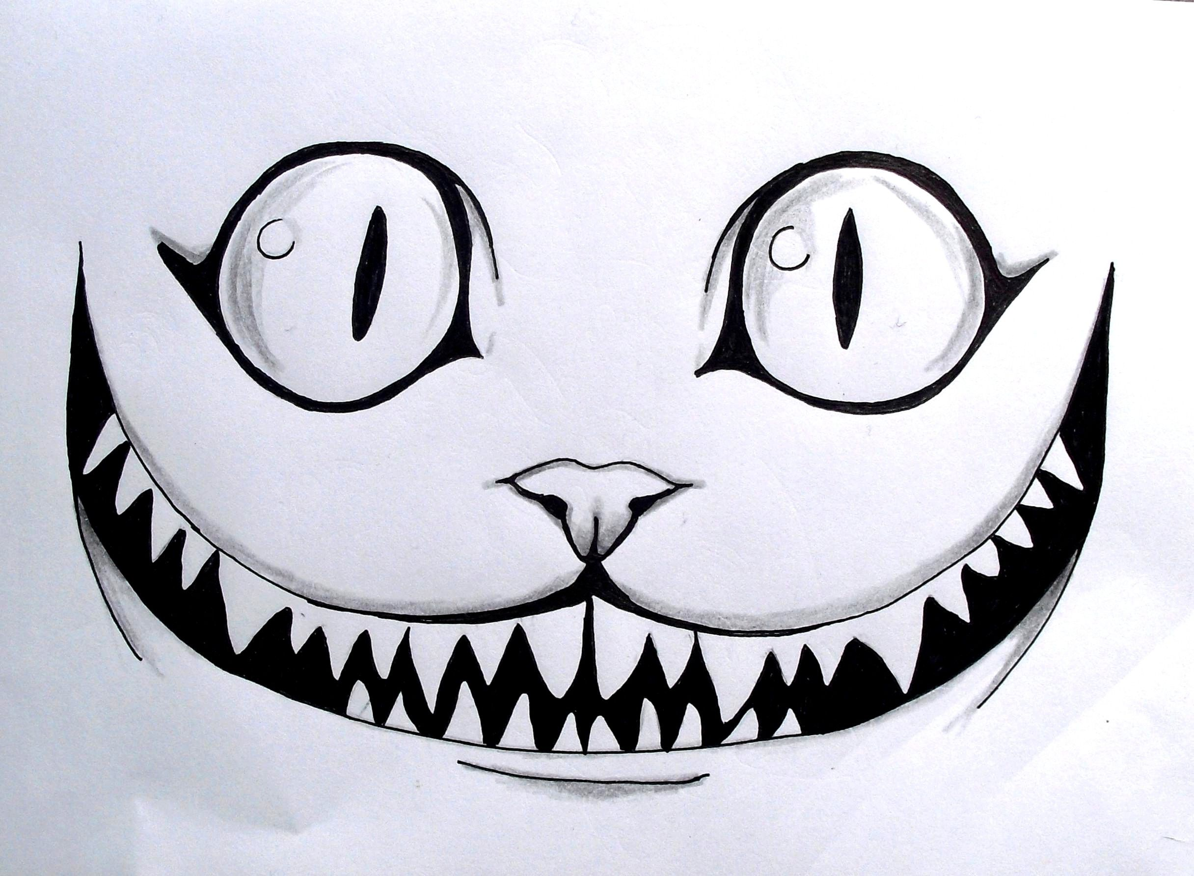 Le Chat des Merveilles dessin crayon drawing AliceinWonderland cat smile