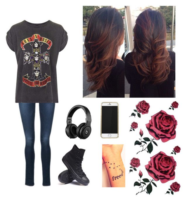 """Guns and Roses"" by natalialovesnutella12 ❤ liked on Polyvore featuring Frame Denim, And Finally and Converse"