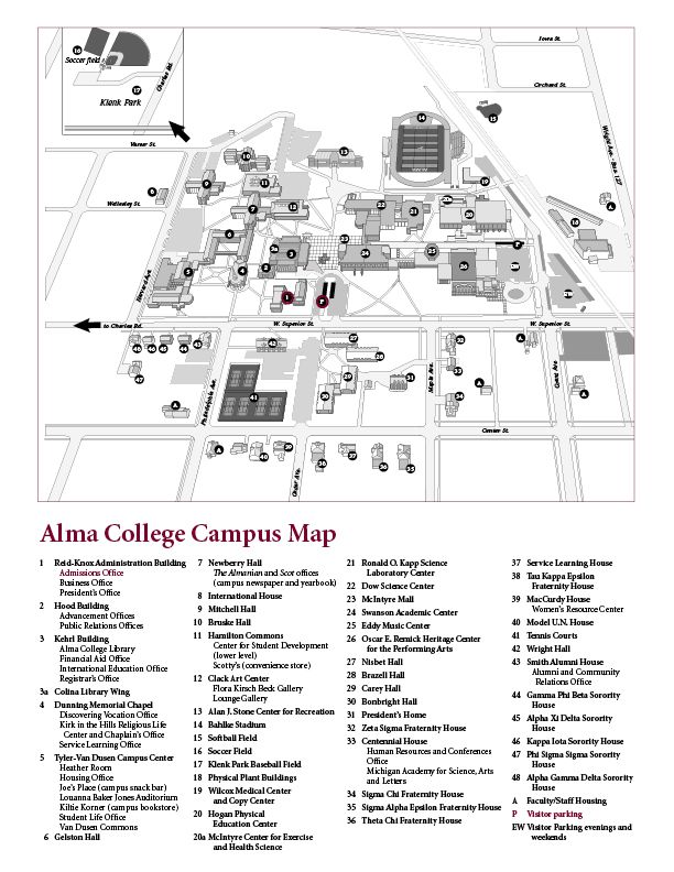 alma college campus map Campus Map Of Alma College Alma Michigan Campus Map Alma alma college campus map