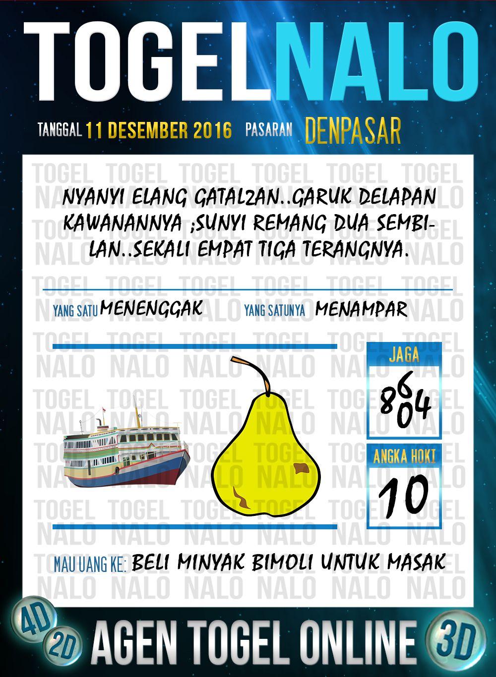 Rumus Lotre 2D Togel Wap Online Live Draw 4D TogelNalo Denpasar 11 Desember 2016