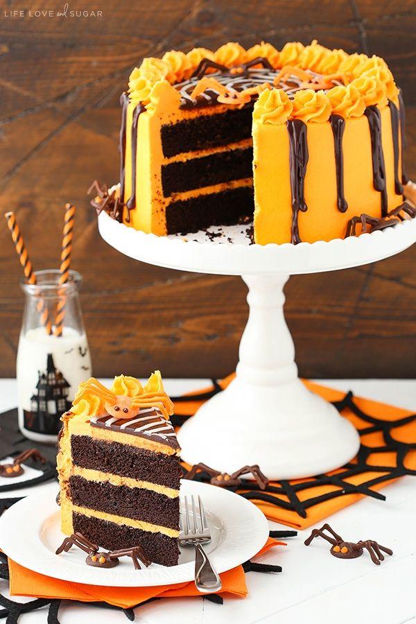 Spiderweb Chocolate Cake With Vanilla Frosting Recipe