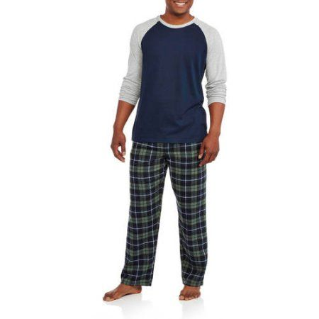 Hanes Big Men's Long Sleeve Jersey Crew & Flannel Pant Sleep Set, Size: 5XL, Blue