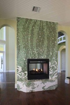 Mosaic Glass Tile Fireplace Surround Contemporary Home