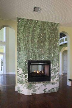 mosaic glass tile fireplace surround