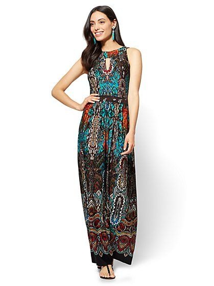 Halter Maxi Dress Teal Mixed Print New York Company