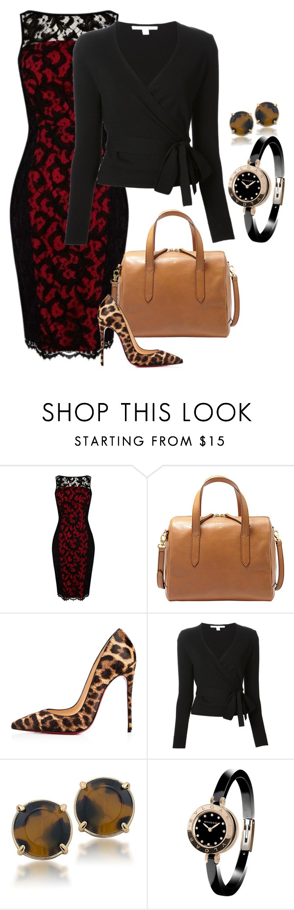"""black and red lace"" by shoesclothesbagsaddict ❤ liked on Polyvore featuring Karen Millen, FOSSIL, Christian Louboutin, Diane Von Furstenberg, Carolee and Bulgari"