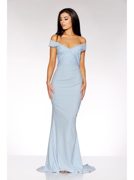 Pale Blue Bardot Lace Maxi Dress Wedding Ideas Fishtail