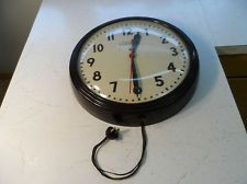 "$155 Vintage GE 15 1/2"" TELECHRON School Wall Gym Clock RED EYE 1H1312 - Works- GLASS"