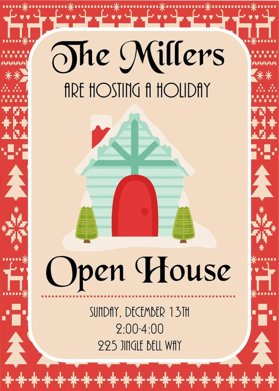 DIY Printable Holiday Open House Christmas Party Invitation Cards