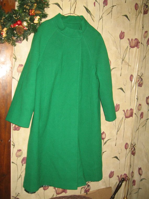 Vintage Emerald Green Wool  WOMENS Coat by Linsvintageboutique, $51.50