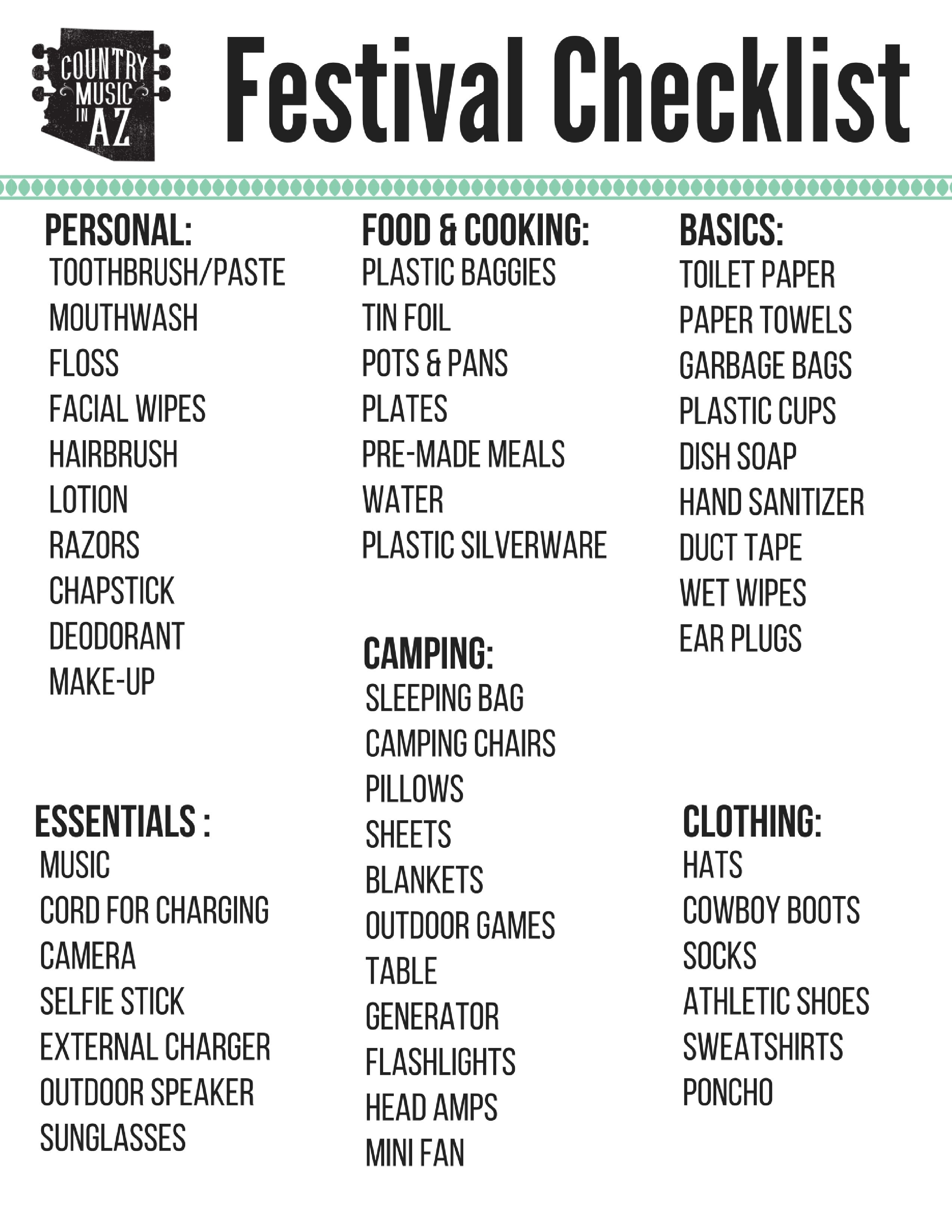 Camping Checklist For Country Thunder In Arizona